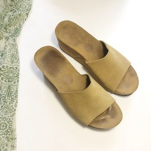 Mila Paoli Cork Wedge Sandals Suede Slip on Tan 8